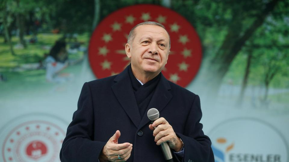 Turkish President Recep Tayyip Erdogan addresses his supporters in Istanbul, Turkey. (December 16, 2018)