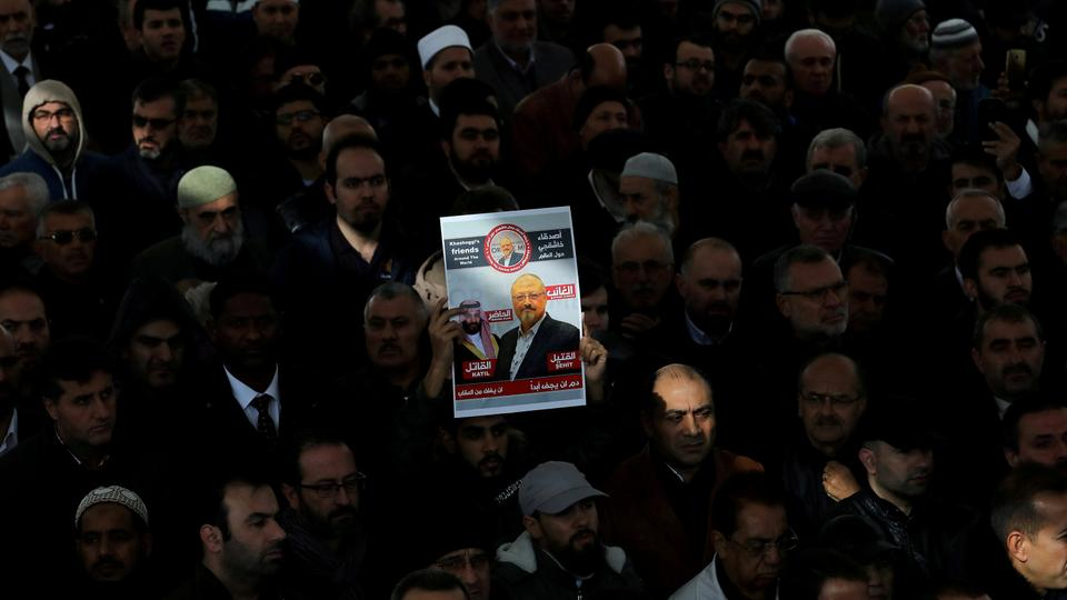 People attend a symbolic funeral prayer for Saudi journalist Jamal Khashoggi at the courtyard of Fatih mosque in Istanbul, Turkey November 16, 2018