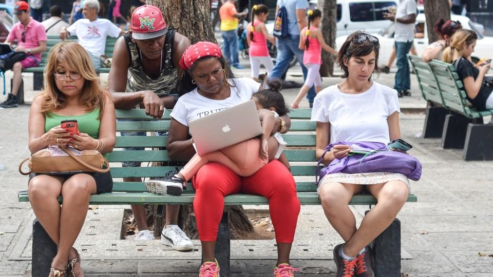 A view of a public wi-fi hotspot in Havana center, where Cubans can sign up with ETECSA, the state telecom company, for public Internet access. Many people across the country can only access the internet in public spots.