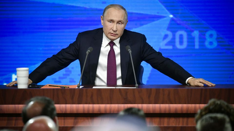 Russian President Vladimir Putin speaks during his annual press conference in Moscow on December 20, 2018.