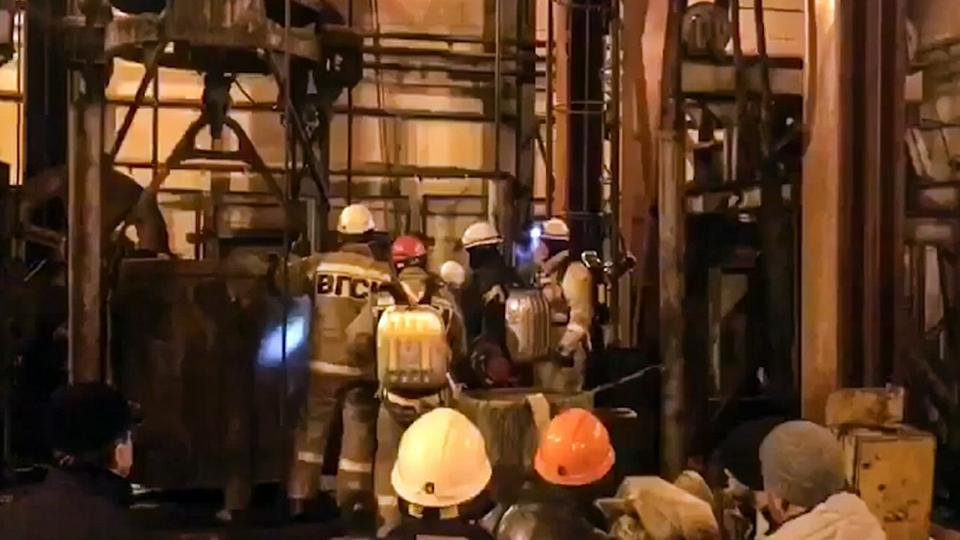 Officials say 17 construction workers were inside the mine in Solikamsk, when the fire broke out and eight of them were quickly evacuated.