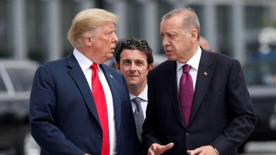 US President Donald Trump and Turkish President Tayyip Erdogan at the NATO summit in Brussels, Belgium on July 11, 2018.