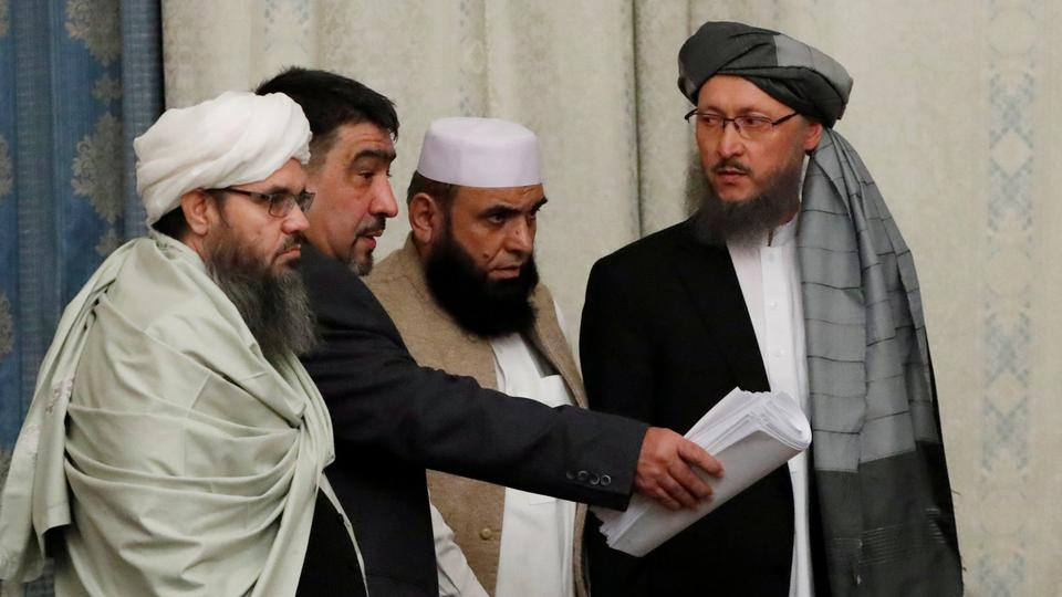Members of Taliban delegation take their seats during the multilateral peace talks on Afghanistan in Moscow, Russia November 9, 2018.