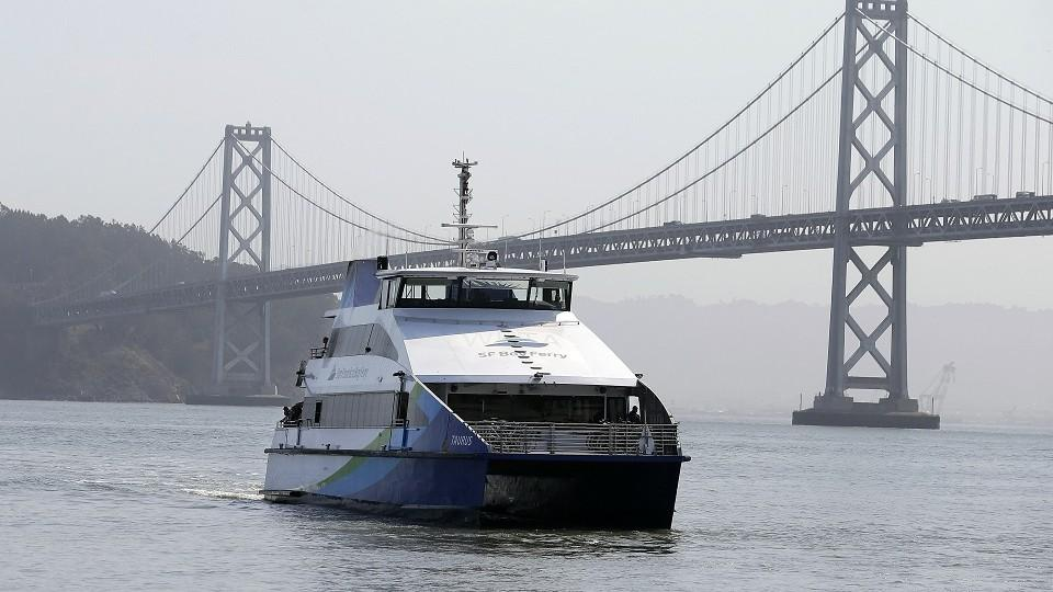 A San Francisco Bay Ferry Arrives From Alameda At The Terminal In