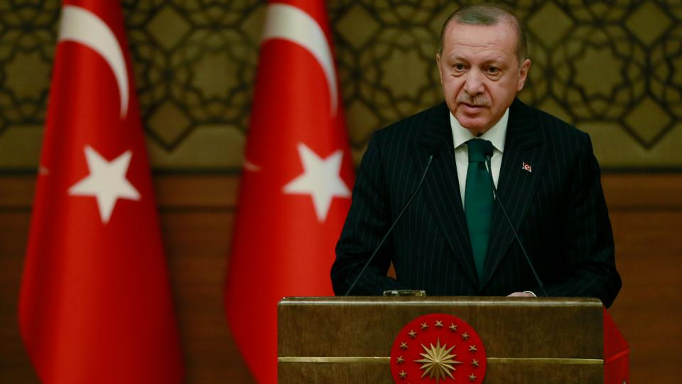 Turkish President Recep Tayyip Erdogan delivers a speech during a symposium on local authorities under the new presidential government system, at the Presidential Complex in Ankara, Turkey on January 09, 2019.