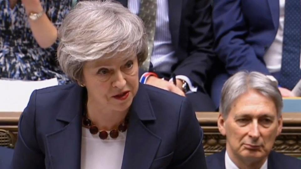In this grab taken from video, Britain's Prime Minister Theresa May speaks during Prime Minister's Questions in the House of Commons, London, January 9, 2019.