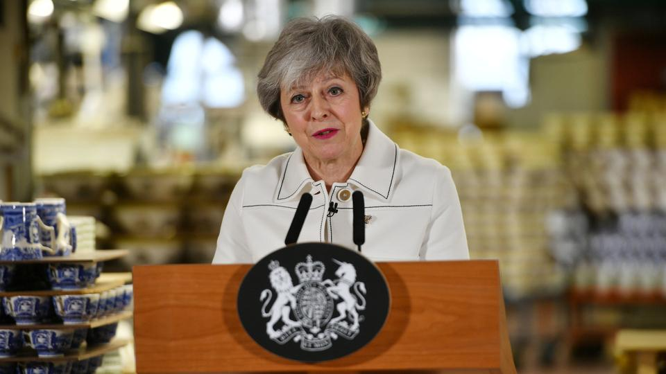 British Prime Minister Theresa May delivers a speech during a visit to the Portmeirion factory in Stoke-on-Trent, Britain. January 14, 2019.