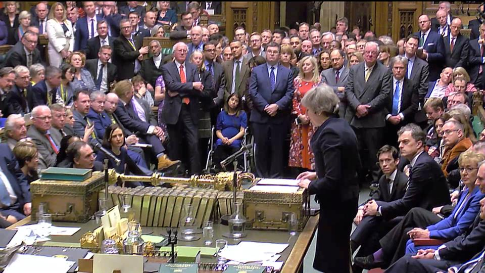 Prime Minister Theresa May addresses Parliament after the vote on May's Brexit deal, in London, Britain, January 15, 2019 in this screengrab taken from video.