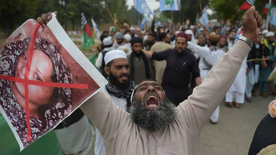 Religious hardliners in the country have been calling for Asia Bibi's death and demanding the government prevent her from leaving the country.
