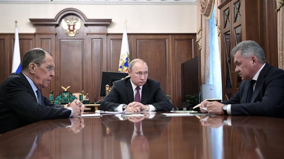 Russian President Vladimir Putin meets with Defence Minister Sergei Shoigu and Foreign Minister Sergey Lavrov at the Kremlin in Moscow, Russia. (February 2, 2019)