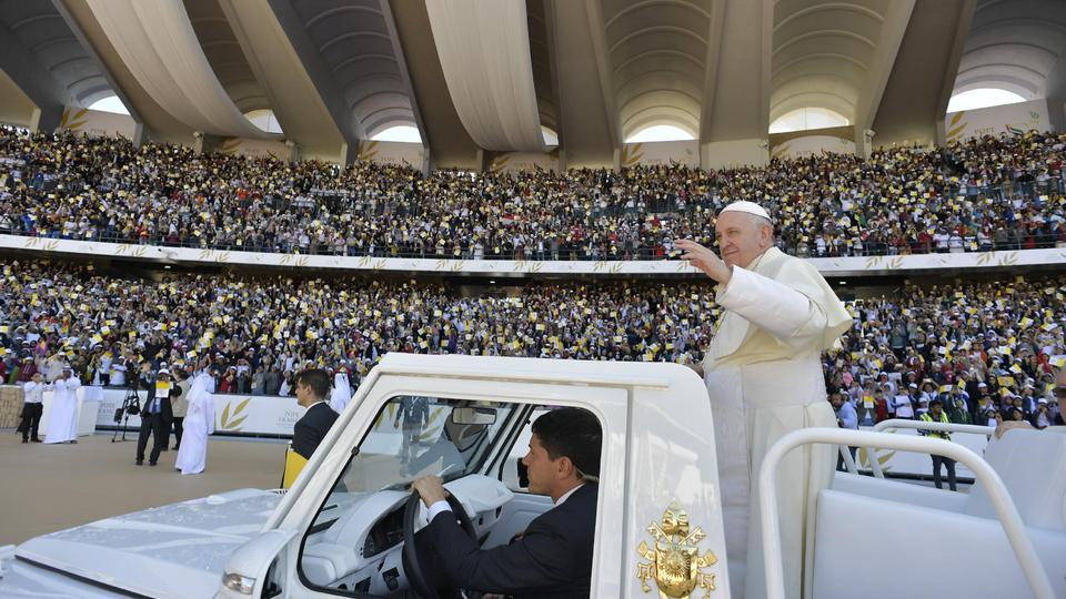 Pope Francis arrives at Zayed Sports City Stadium in Abu Dhabi, United Arab Emirates, February 5, 2019
