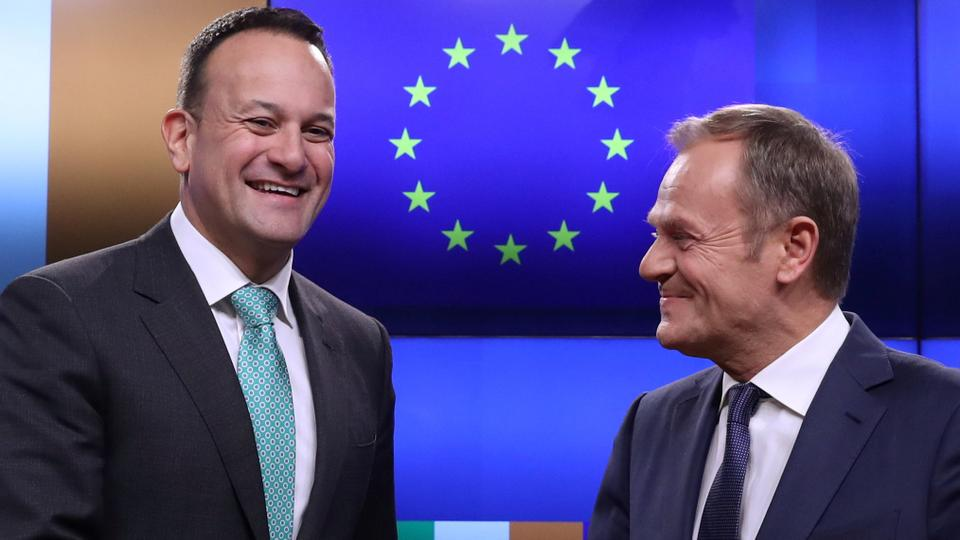 EU Council President Donald Tusk and Irish Prime Minister Leo Varadkar gesture as they give statements after a meeting at the European Council headquarters in Brussels, Belgium February, 6, 2019.