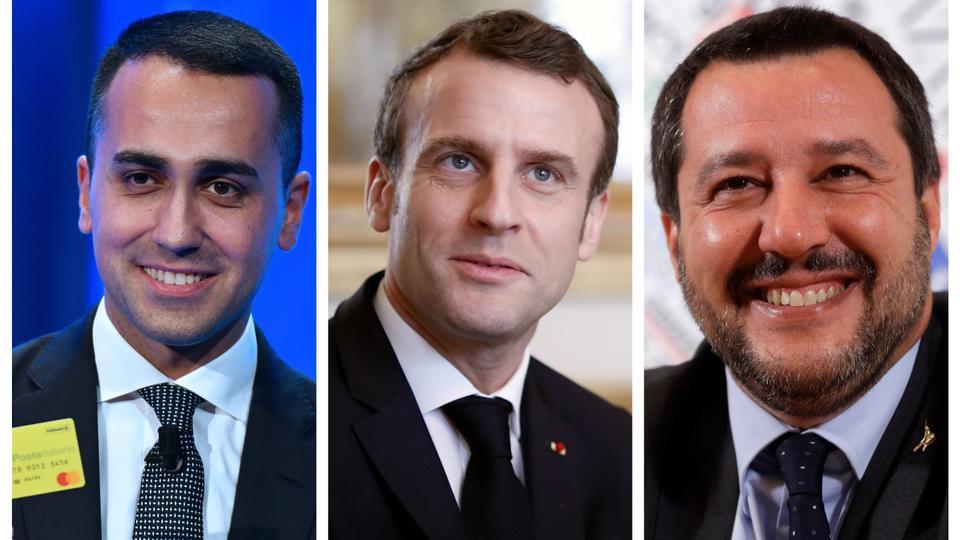 Italy's Luigi De Maio's (left) fellow deputy prime minister, Matteo Salvini,(right) has also lambasted French President Emmanuel Macron (centre) directly.