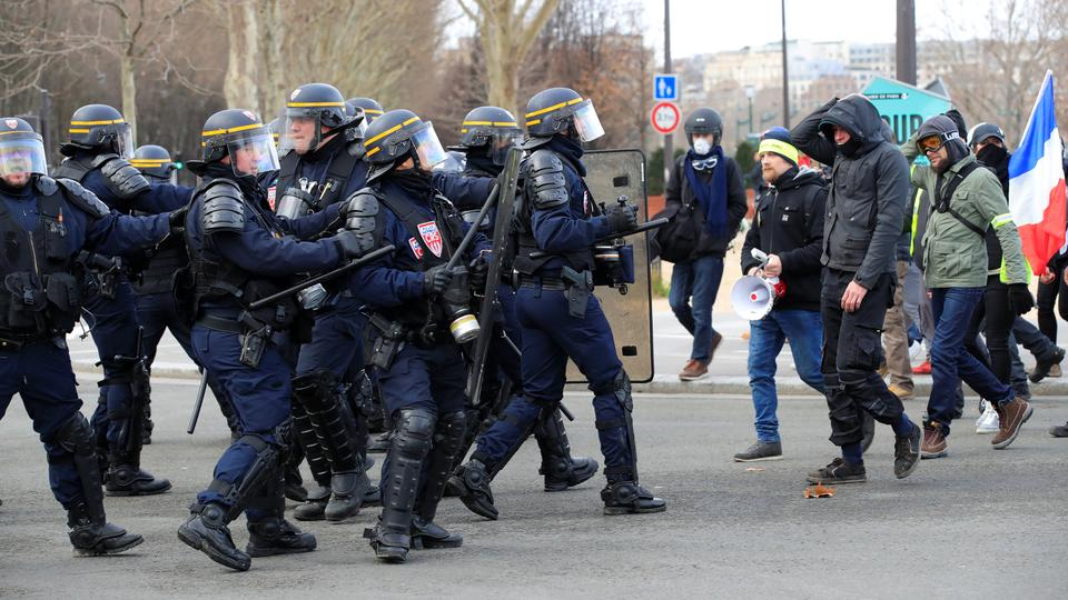 Riot policemen are pictured during a demonstration by the