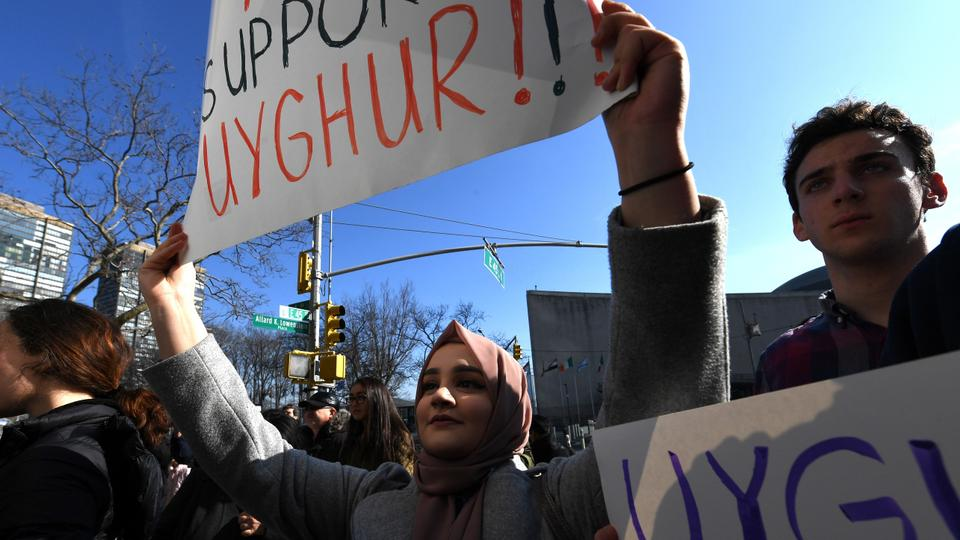 Protesters on February 5, 2019 in front of the US Mission to the United Nations calling on the US State Department to fight for the freedom of Uighur Muslim Uighurs detained in Chinese 'de-radicalisation' camps.