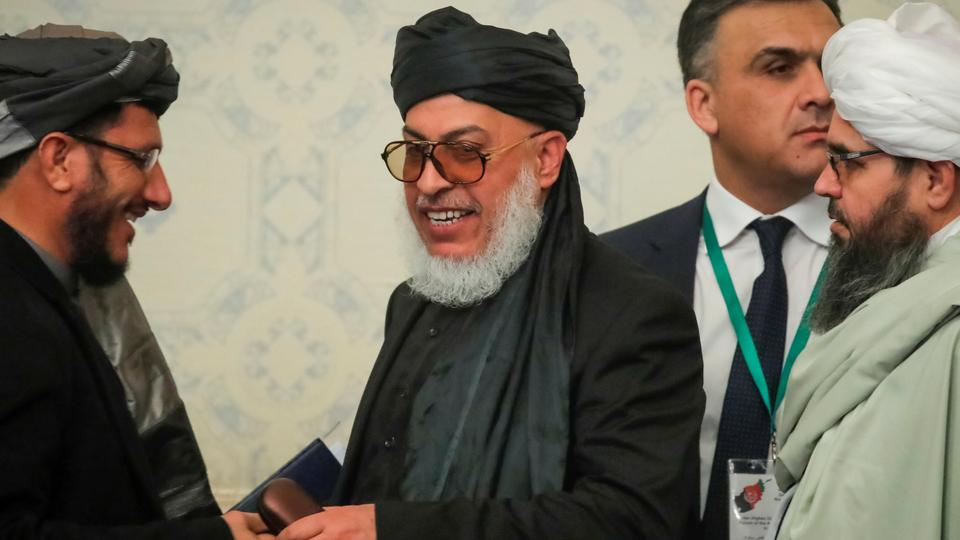 Head of Political Office of the Taliban Sher Mohammad Abbas Stanakzai smiles during a conference arranged by the Afghan diaspora, in Moscow, Russia February 5, 2019.