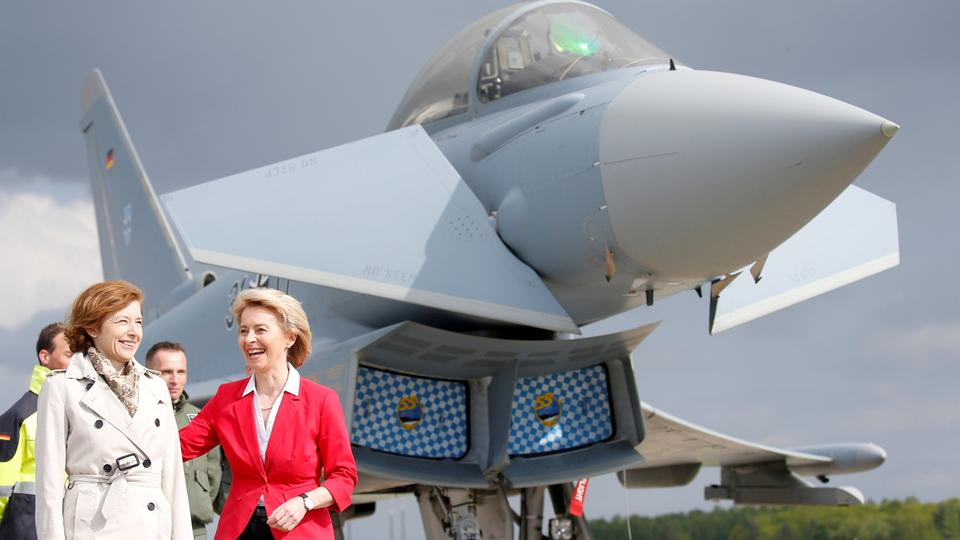 German Defense Minister Ursula von der Leyen and French Minister of the Armed Forces Florence Parly stand next to Eurofighter as they visit the ILA Air Show in Berlin, Germany, April 26, 2018.