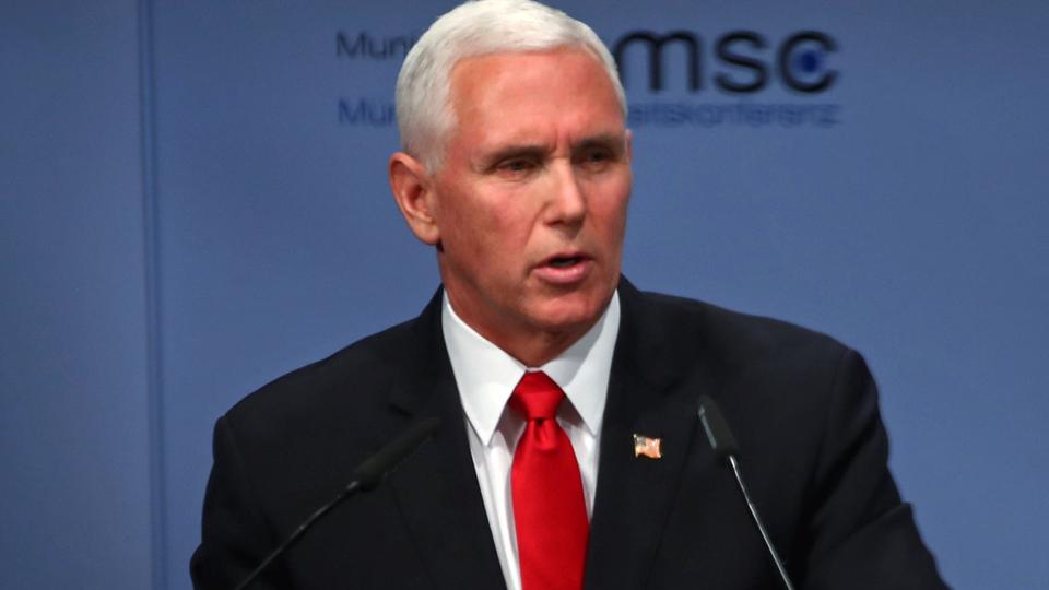 US Vice President Mike Pence speaks during the annual Munich Security Conference in Munich, Germany February 16, 2019.