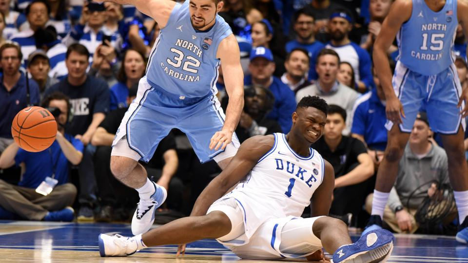 e79300792c7 Duke Blue Devils forward Zion Williamson reacts after falling during the  first half against the North