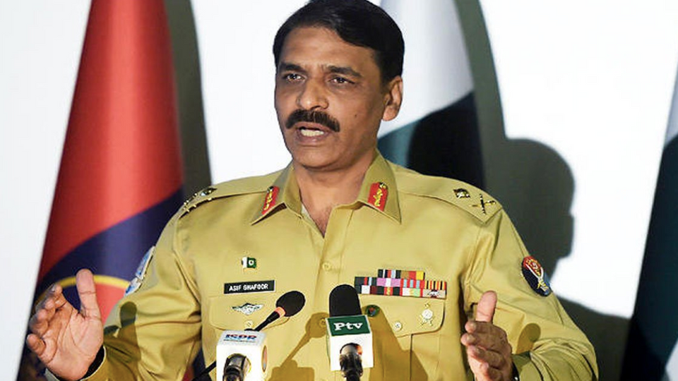 Pakistan Army spokesman Major Asif Ghafoor addressing media in Rawalpindi.