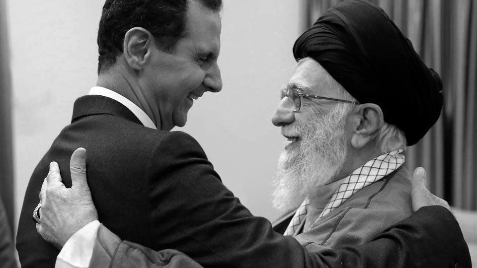 In this picture released by an official website of the office of the Iranian supreme leader, Supreme Leader Ayatollah Ali Khamenei, right, welcomes Syrian Regime leader Bashar Assad in Tehran, Iran, Monday, Feb. 25, 2019.