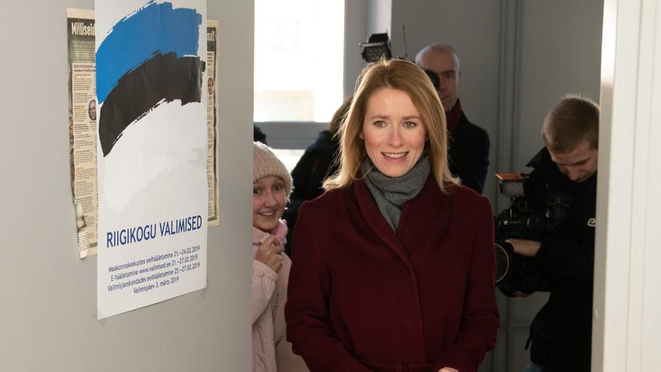 Kaja Kallas, leader of the Reform Party arrives to vote in a polling station during Estonia's general election in Tallin, on March 3, 2019. Estonia's centre-left coalition is fighting for survival in the general election challenged by both the liberal opposition and the rise of a far-right party amid a backlash against liberal economic and social policies in the small Baltic eurozone state.