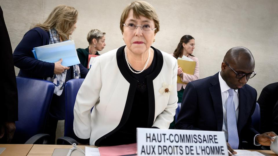 United Nations High Commissioner for Human Rights Michelle Bachelet takes her place to present her annual report before the UN Human right council members in Geneva. March 6, 2019.