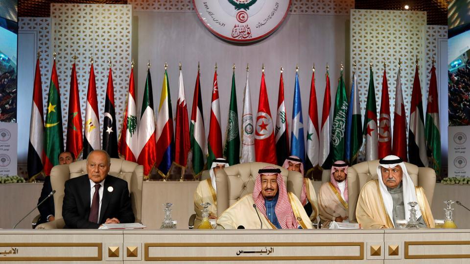 Arab League Secretary-General Ahmed Abul Gheit, Saudi Arabia's King Salman bin Abdulaziz and Saudi Arabia's Foreign Minister Ibrahim Al-Assaf attend the 30th Arab Summit in Tunis, Tunisia on March 31, 2019.