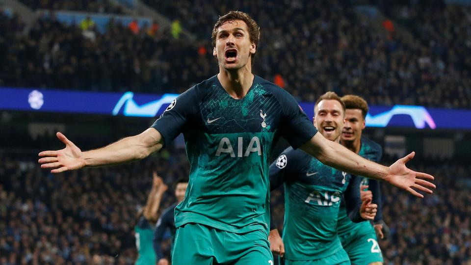 2ba1ad279 Tottenham s Fernando Llorente celebrates scoring their third goal with team  mates against Manchester City at the
