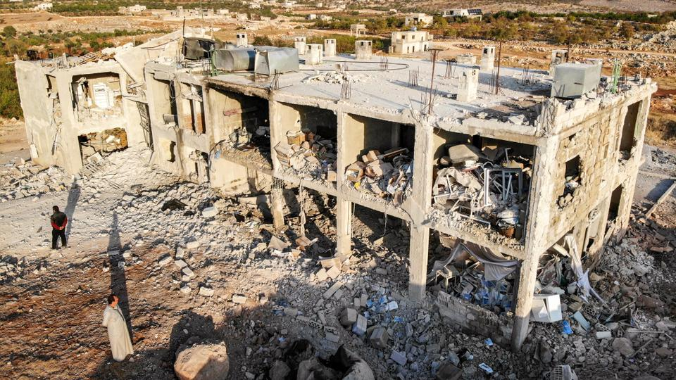 This picture taken early on November 6, 2019 shows an aerial view of a hospital that was reportedly hit by a reported air strike in the Syrian village of Shinan, about 30 kilometres south of Idlib in the northwestern Idlib province.