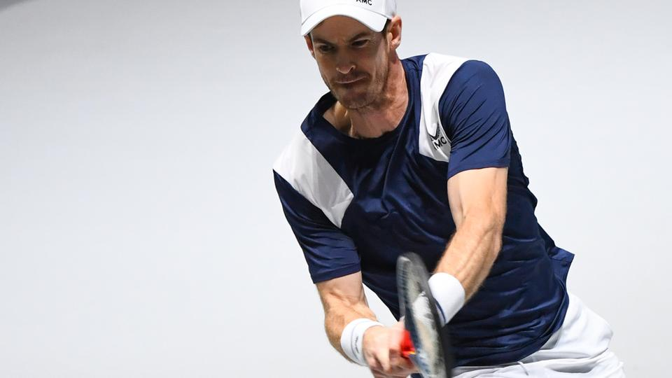 Great Britain's Andy Murray returns the ball to Netherlands' Tallon Griekspoor during the singles tennis match between Great Britain and Netherlands at the Davis Cup Madrid Finals 2019 in Madrid on November 20, 2019.