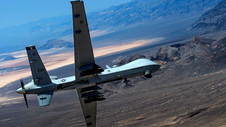 An MQ-9 Reaper remotely piloted drone aircraft over Creech Air Force Base.