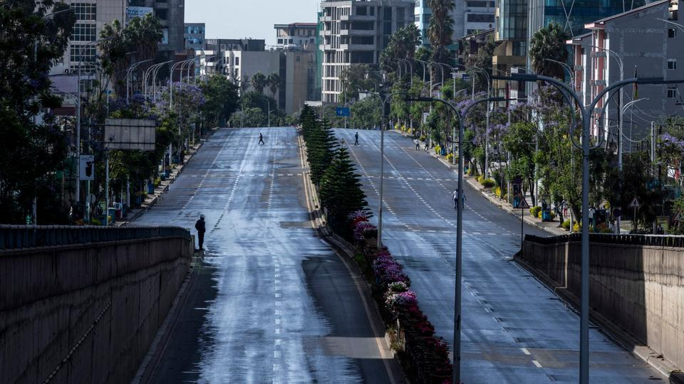 Roads in the capital lie empty after they were closed to be disinfected to halt the spread of the new coronavirus, in Addis Ababa, Ethiopia Sunday, March 29, 2020.