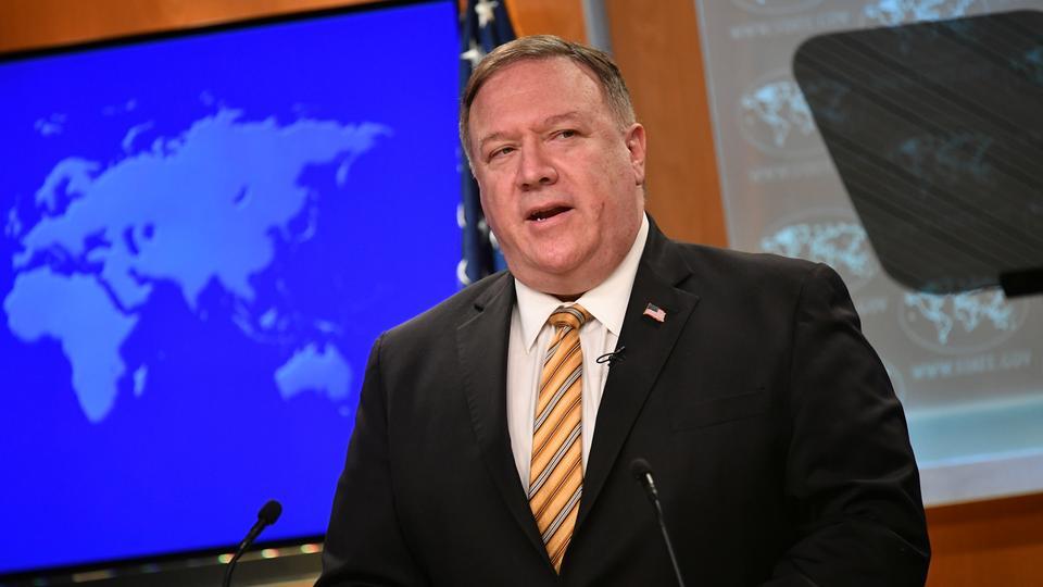 ABD Dışişleri Bakanı Mike Pompeo, Çin ve İran ile olan ilişkiler ve Washington, ABD'de 24 Haziran 2020'de Washington'daki koronavirüs hastalığına (Covid-19) salgını ile mücadele hakkında bir haber konferansı verdi.