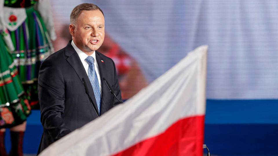 President Andrzej Duda addressees supporters shortly after voting ended in the presidential election in Lowicz, Poland on June 28, 2020.