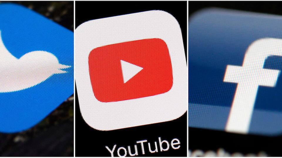 Bu resim kombinasyonu sol, Twitter, YouTube ve Facebook şirketlerine ait logoları gösterir.