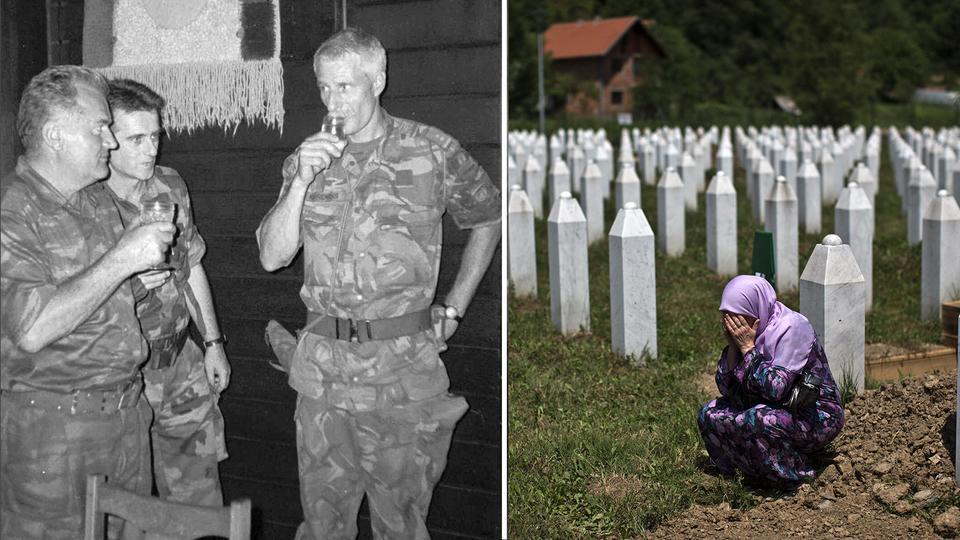 DOSYA: Bosnalı Sırp Ordusu Komutanı General Ratko Mladiç, 12 Temmuz 1995'te Potocari'de dosya fotoğrafını terk ederken, sağdaki ikinci görüntüde bir kadın Srebrenica soykırımı kurbanının mezarının yakınında ağlıyor.