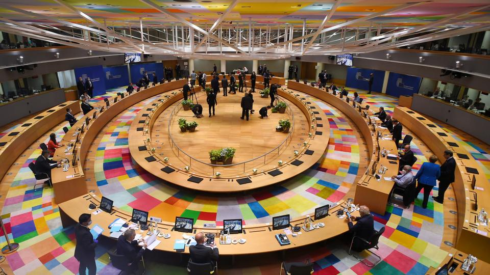 A general view prior to the start of the first face-to-face EU summit since the coronavirus disease (Covid-19) outbreak, in Brussels, Belgium, July 18, 2020.
