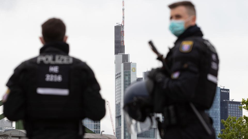 This image shows the police on guard in Frankfurt, Germany, July 19, 2020.