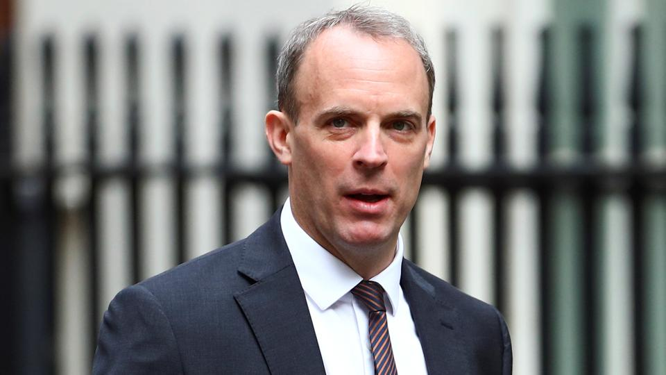 Britain's Foreign Secretary Dominic Raab arrives at Downing Street ahead of a cabinet meeting in London, Britain, July 14, 2020