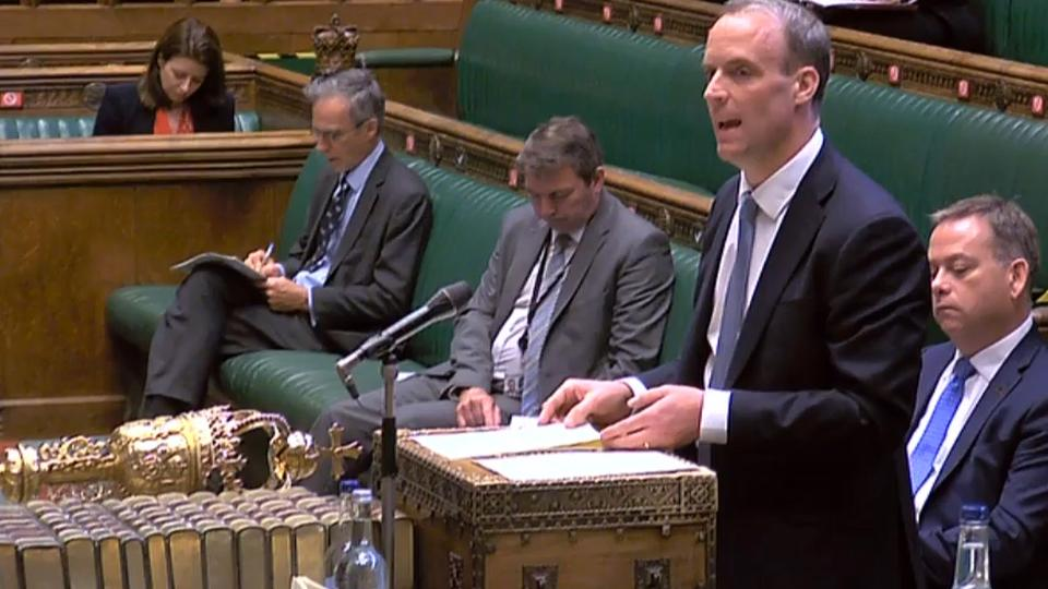 A video grab from footage broadcast by the UK Parliament's Parliamentary Recording Unit (PRU) shows Britain's Foreign Secretary Dominic Raab making a statement in the House of Commons in London on July 20, 2020.