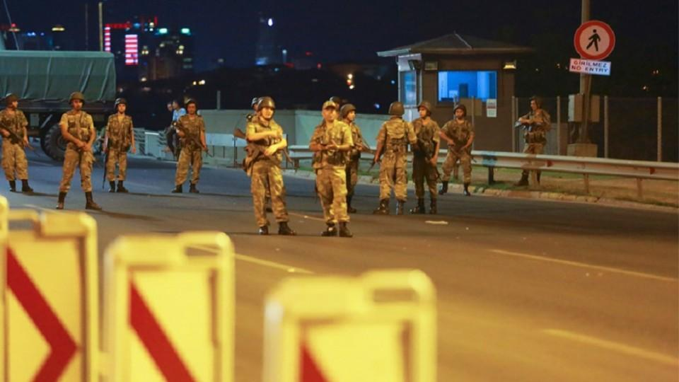 Soldiers blocked the Bosphorus Bridge during the failed coup attempt on July 15, 2016.
