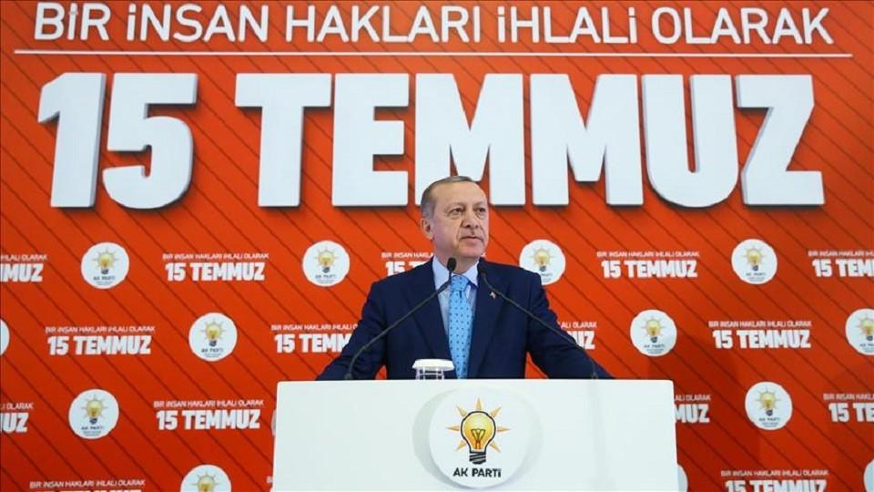 President of Turkey, Recep Tayyip Erdogan speaks during a panel on the July 15 coup attempt, at ATO Congresium in Ankara, Turkey on July 14, 2017.