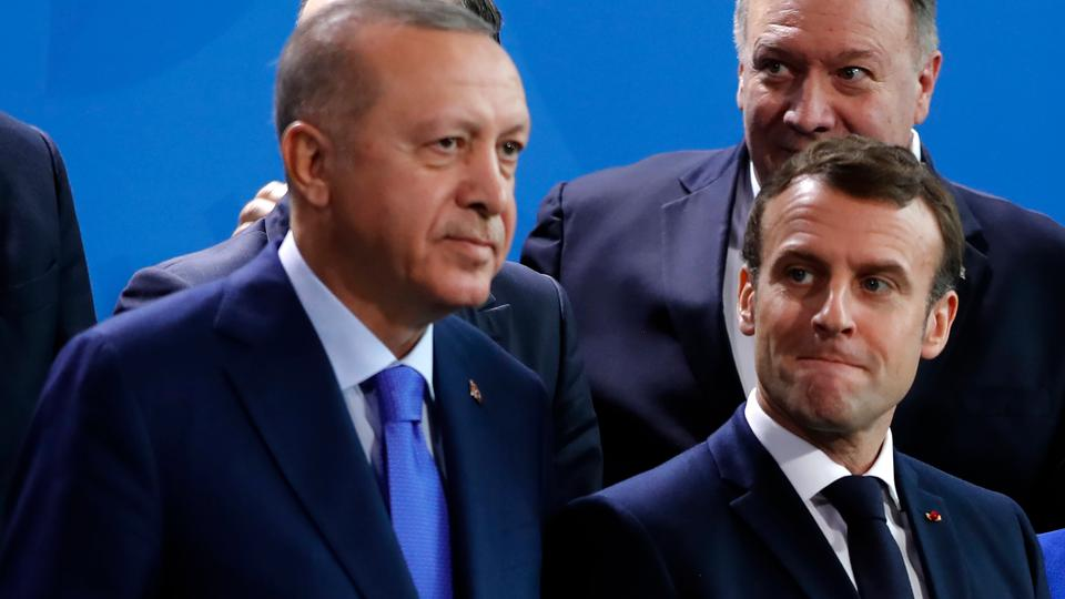 Erdogan (L) and Macron (R) have traded insults for months after finding themselves on opposite sides of conflicts ranging from Libya to maritime disputes in the east Med.