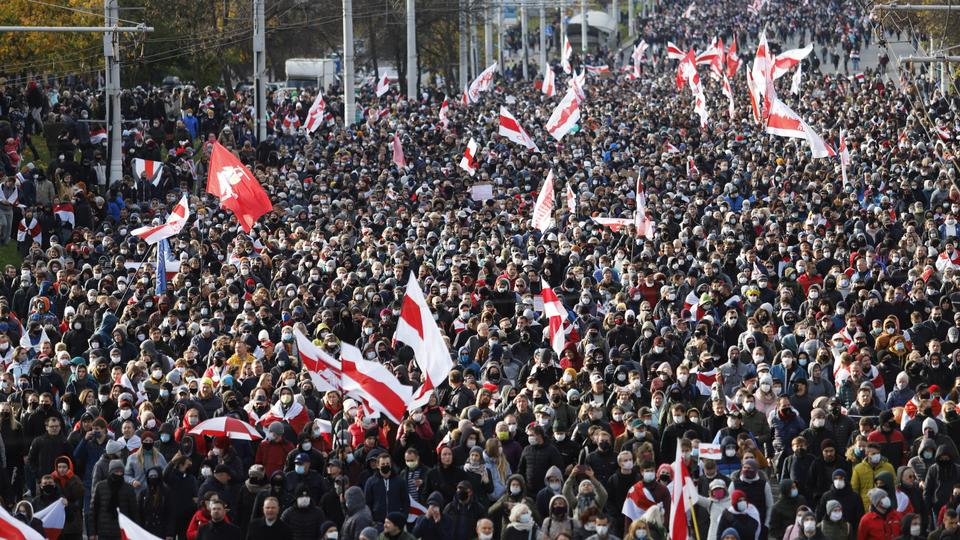 Tens of thousands march in Belarus, dozens arrested