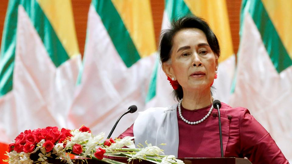 Myanmar State Counselor Aung San Suu Kyi delivers a speech to the nation over the Rohingya crisis in Rakhine, in Naypyitaw, Myanmar. September 19, 2017.