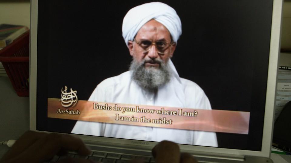 Al Qaeda leader Ayman al Zawahari is seen in a propaganda video, June 20, 2006.