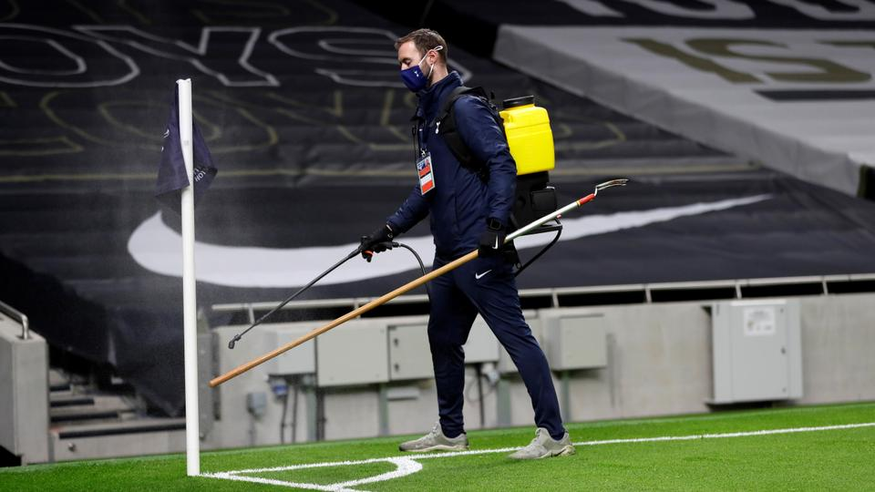 Routine disinfecting rituals ahead of English Premier League football match between Tottenham Hotspur and Manchester City at Tottenham Hotspur Stadium in London, on November 21, 2020.