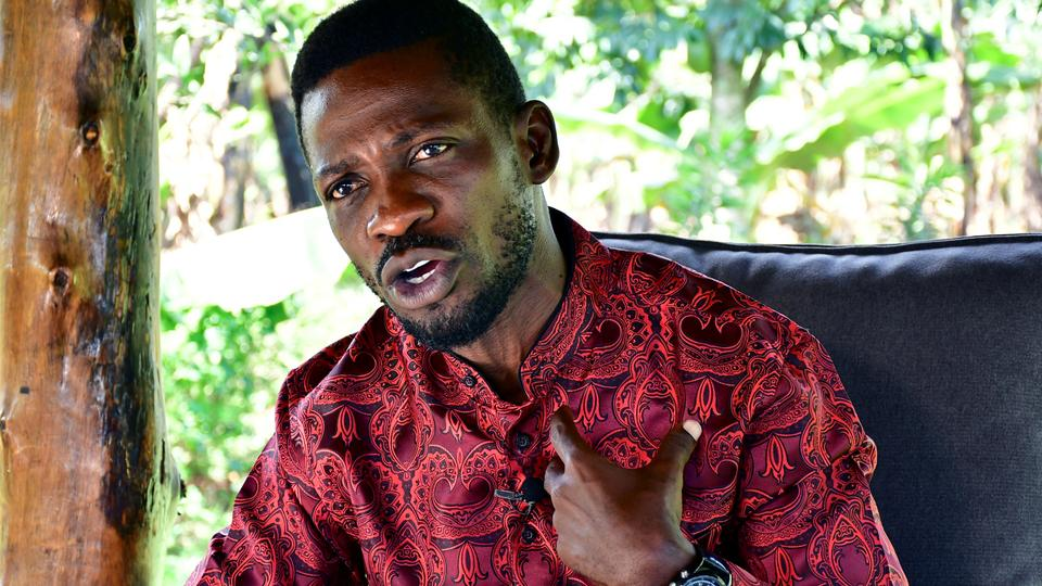 Ugandan opposition presidential candidate Robert Kyagulanyi, also known as Bobi Wine, talks during an interview with Reuters at his home in Magere, Wakiso district on the outskirts of Kampala, Uganda January 3, 2021