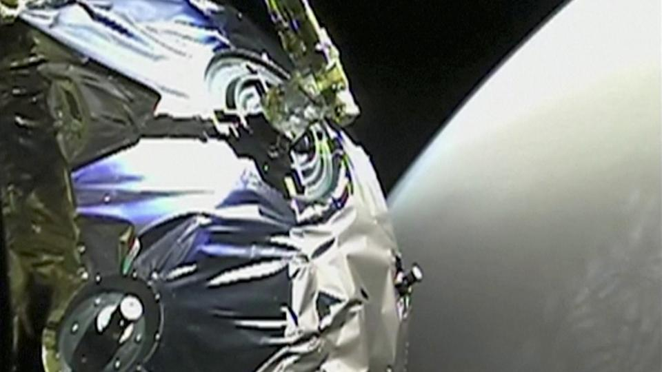 A view as Tianwen-1 probe enters the orbit of Mars in this screen grab obtained from a video on February 12, 2021.